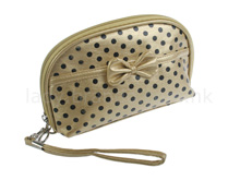 Gold Cosmetic Bag w/ dotts