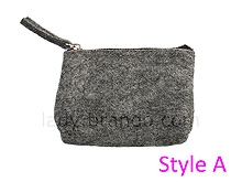Napped Fabric Cosmetic Bag (Grey)