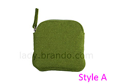 Napped Fabric Cosmetic Bag (Green)