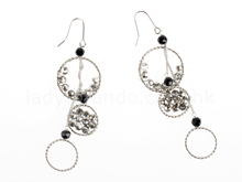 Three Rings With Grey Crystal Balls Earrings