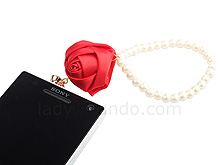 Plug-in 3.5mm Earphone Jack Accessory - Rose with Pearl Chain