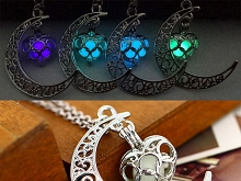 Hollow Moon Heart Luminous Necklace