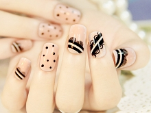 Pink with Black Lace Round Dots Nails