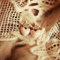Jewel Crown Heart Earrings