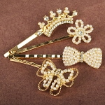 Pearlescent Beads and Rhinestone Gold Hairpin