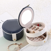 Mini Portable Round Jewel Box