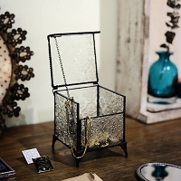 Retro Glass Jewelry Storage Box