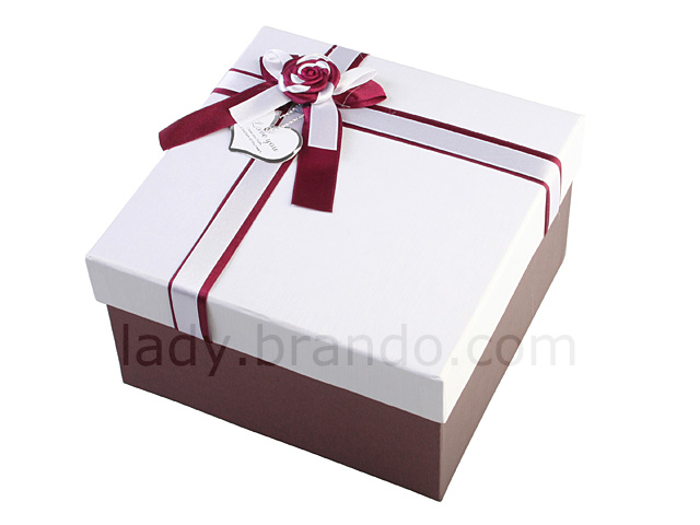 Premium White-and-Brown Gift Boxes w/ Satin Ribbon