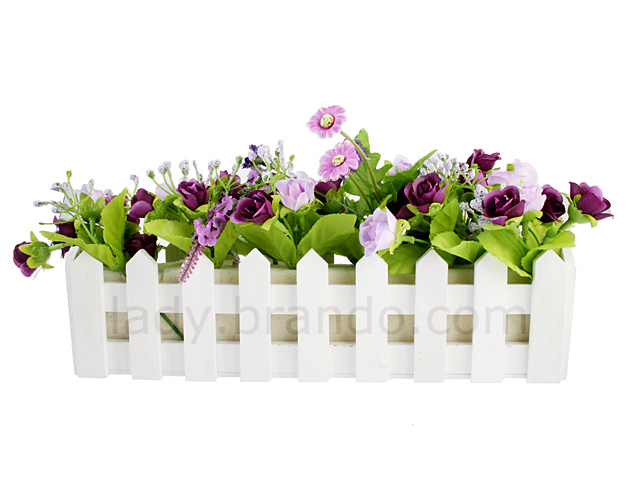 Artificial Flowers With Rail Planter
