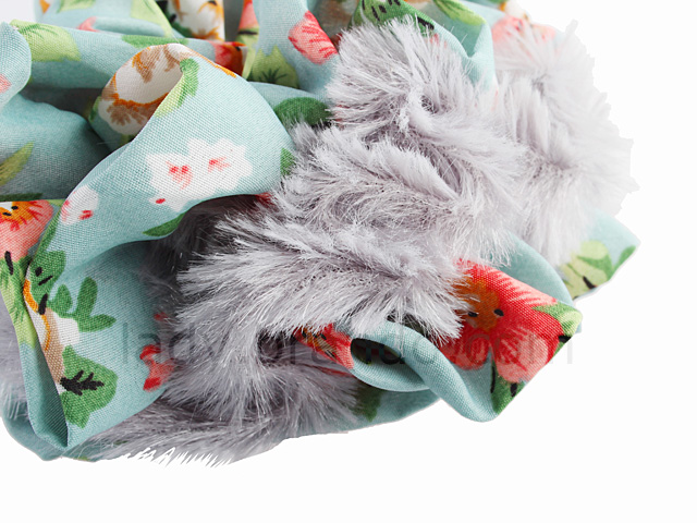 Fuzzy Scrunchie with Floral Print