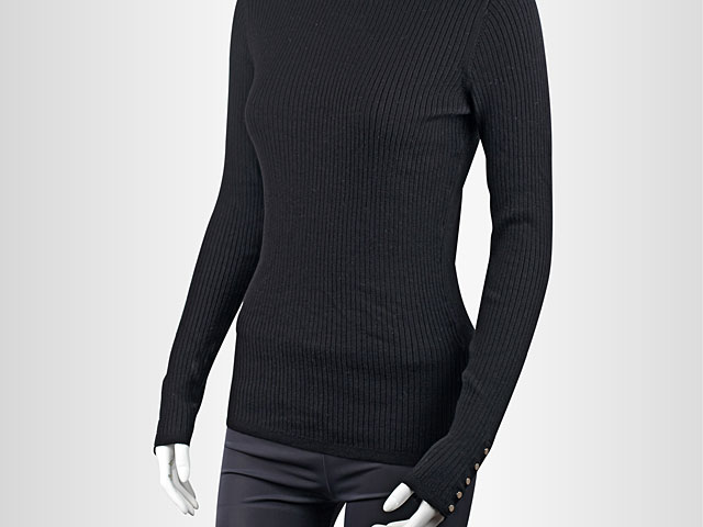 Black Turtle Neck Long Sleeve Pullover